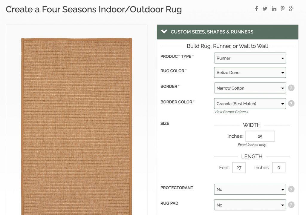 Снимок экрана с веб-сайта Sisal Rugs Direct