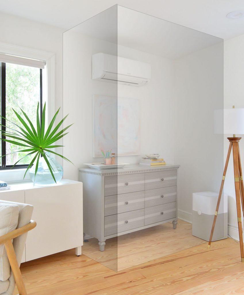 Черновая визуализация места, где будет установлен шкаф в спальне