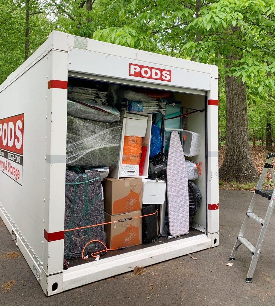 Движущийся контейнер PODS переполнен
