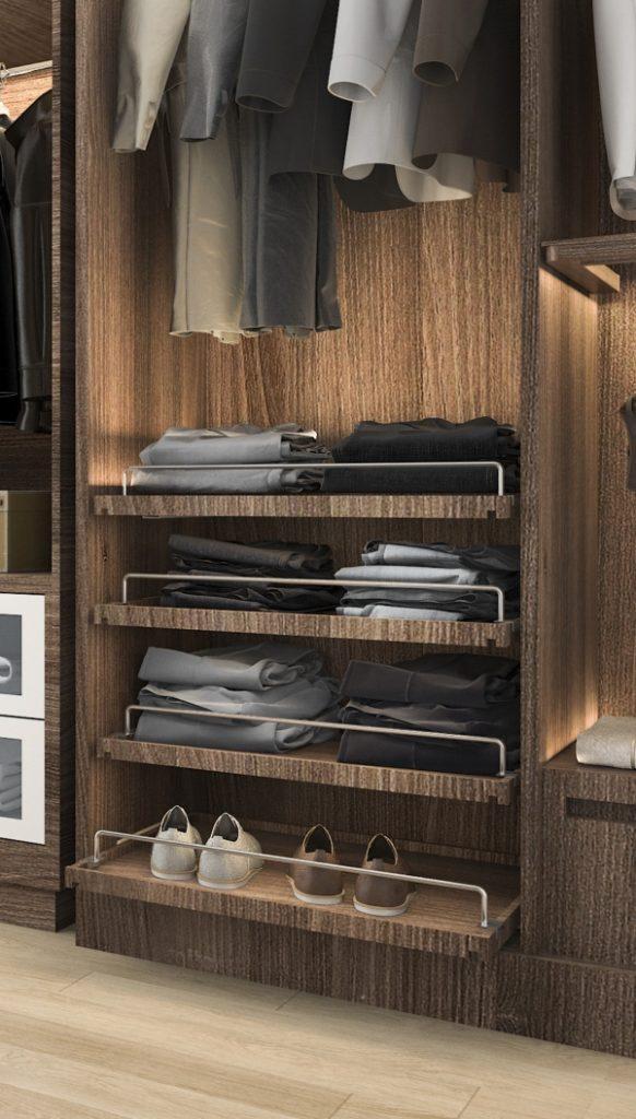 Выдвижные полки в гардеробе