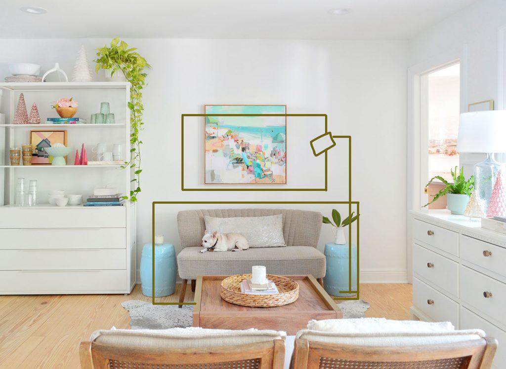 Старое фото зоны отдыха с мягкой скамейкой и отметками в фотошопе о вещах, которые нужно добавить
