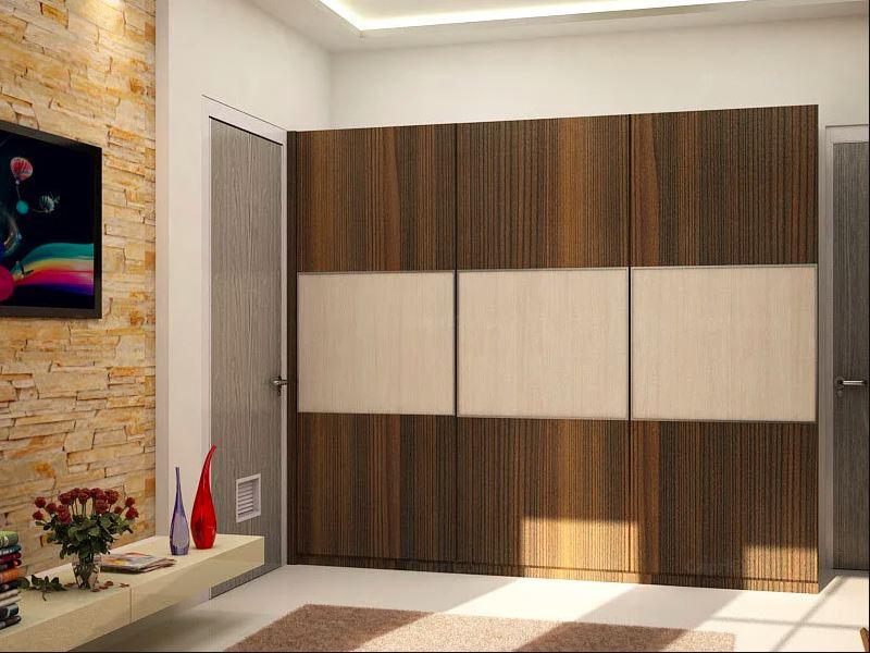 Деревянная отделка коричневого и Кремовый шкаф