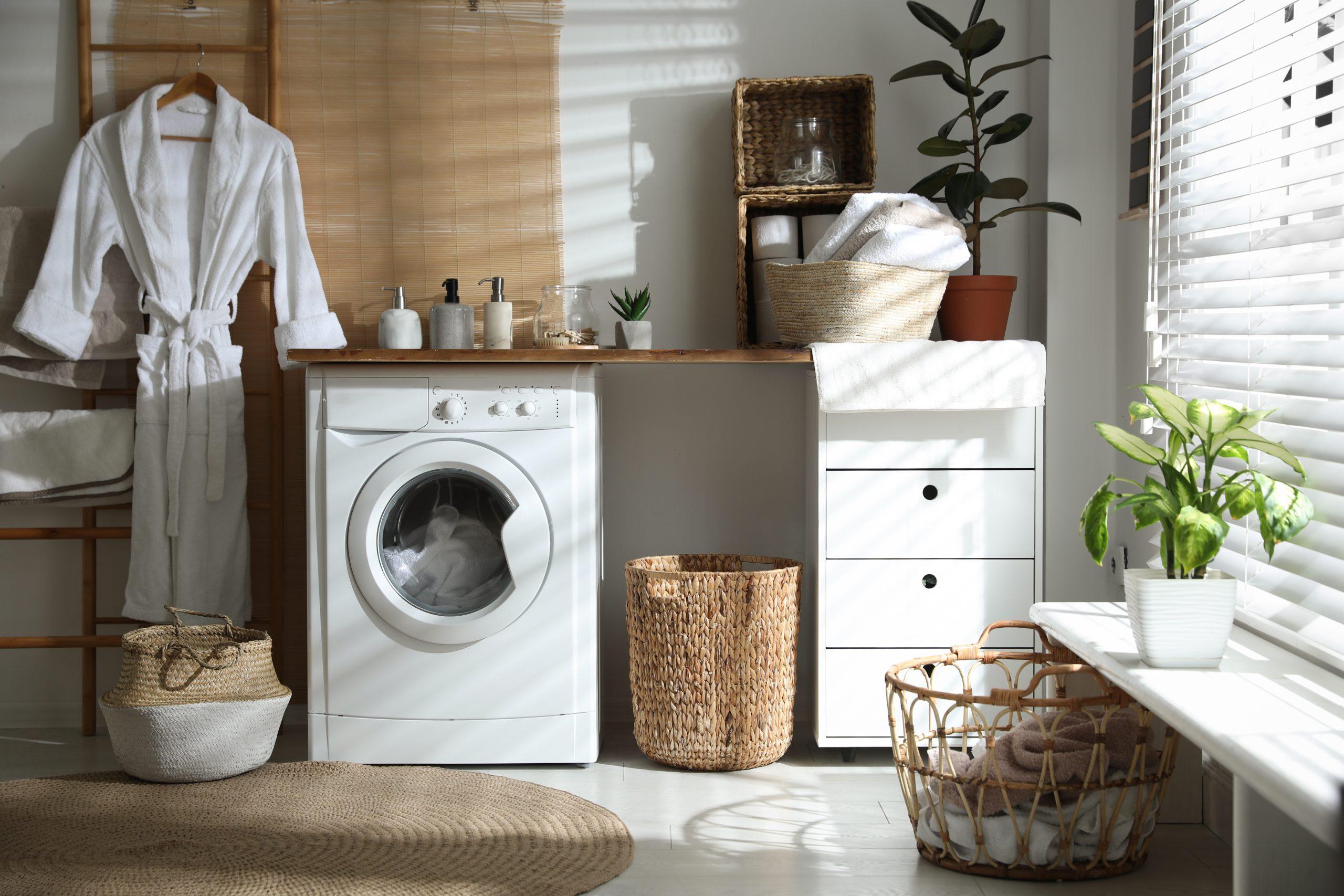 Зона стиральной машины в прачечной