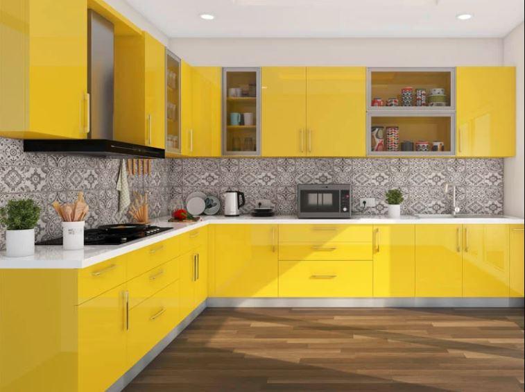 желто-серая кухня
