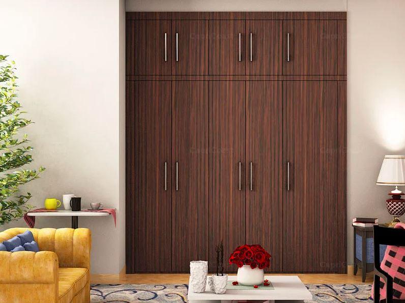 современный шкаф с деревянной отделкой