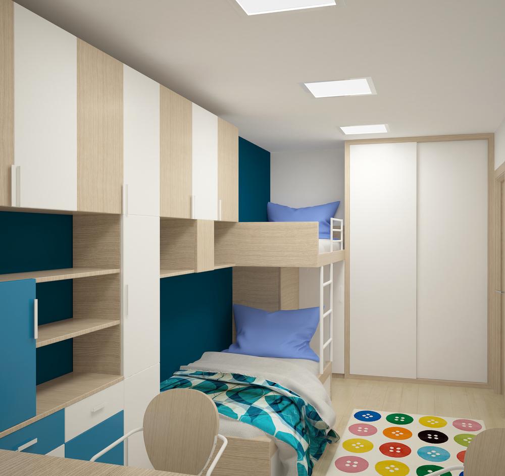 Дизайн детского гардероба с двухъярусной кроватью