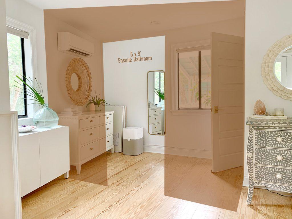 Вид на область, которая станет будущей ванной комнатой с визуализацией в фотошопе